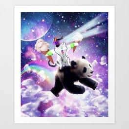 Lazer Rave Space Cat Riding Panda Eating Ice Cream Art Print