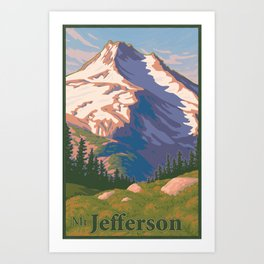 Vintage Mount Jefferson Travel Poster Art Print
