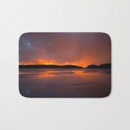 Sunset With Orange Sky Reflections On The Icy Lake #decor #society6 #homedecor #buyart Bath Mat