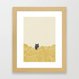 Cat and Yarn Framed Art Print