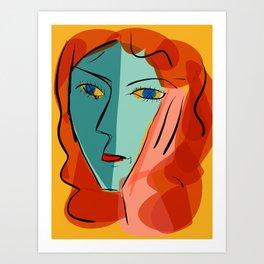 Blue girl on yellow background Art Print