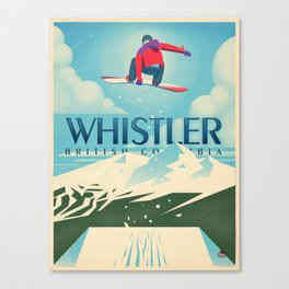 """Vintage Whistler """"Snowboard Booter"""" Travel Poster Canvas Print"""