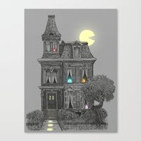 creepy Canvas Prints featuring Haunted by the 80's by Terry Fan