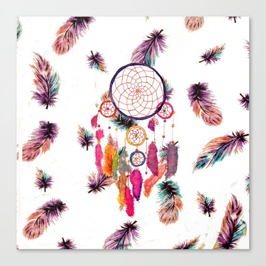 Hipster Watercolor Dreamcatcher Feathers Pattern Canvas Print