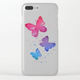 Butterflies Watercolor Abstract Splatters Clear iPhone Case