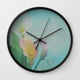 Painterly Calla flowers and leaves Wall Clock