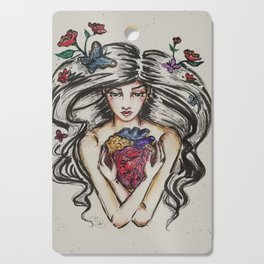 be still my beating heart anitomical love valentine tattoo brunette Cutting Board