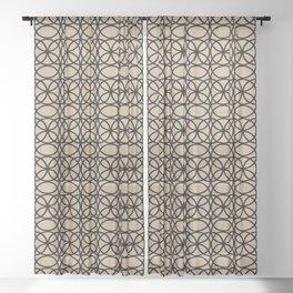 Pantone Hazelnut and Black Rings Circle Heaven 2 Overlapping Ring Design Sheer Curtain