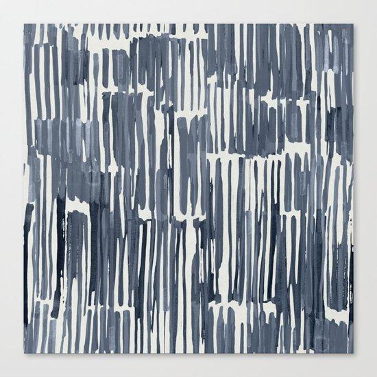 Simply Bamboo Brushstroke Indigo Blue on Lunar Gray Canvas Print