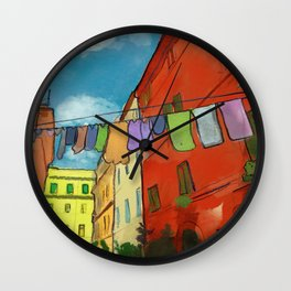 Laundry in Trastevere Wall Clock