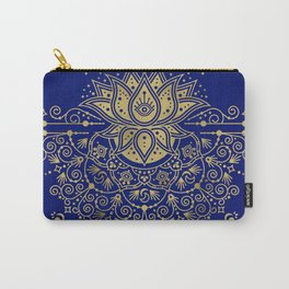 Sacred Lotus Mandala – Navy & Gold Palette Carry-All Pouch