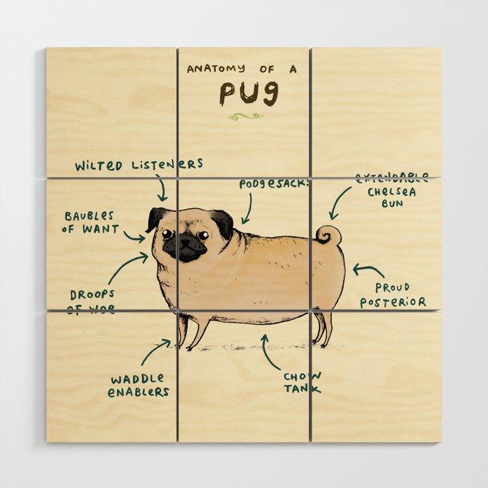 Anatomy of a Pug Wood Wall Art