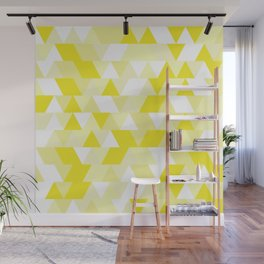 Simple Geometric Triangle Pattern - White on Yellow - Mix & Match with Simplicity of life Wall Mural