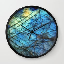 Royal Labradorite Crystal Agate Gemstone Print Wall Clock