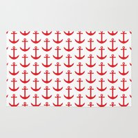 preppy Area & Throw Rugs featuring Preppy Nautical - Seaside Pattern - Red Anchor by Nautical Home Decor & Beach House Decor
