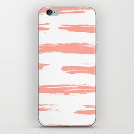 Pretty Pink Brush Stripes Horizontal iPhone Skin