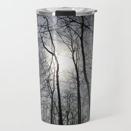 White Sky, Black Trees Travel Mug