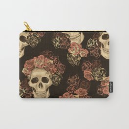 Skulls and Roses Spooky Halloween Carry-All Pouch