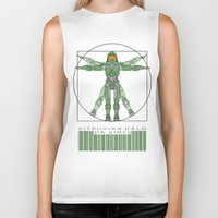 halo Biker Tanks featuring vitruvian Halo by tshirtsz