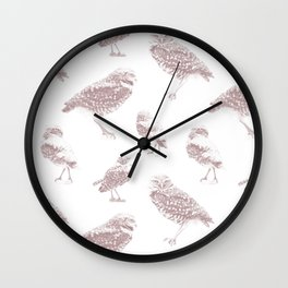 Burrowing Owls Dots - Woodrose Wall Clock