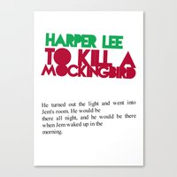 to kill a mockingbird Canvas Prints featuring To Kill A Mockingbird by FunnyFaceArt