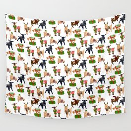 Christmas goats in sweaters repeating seamless pattern Wall Tapestry