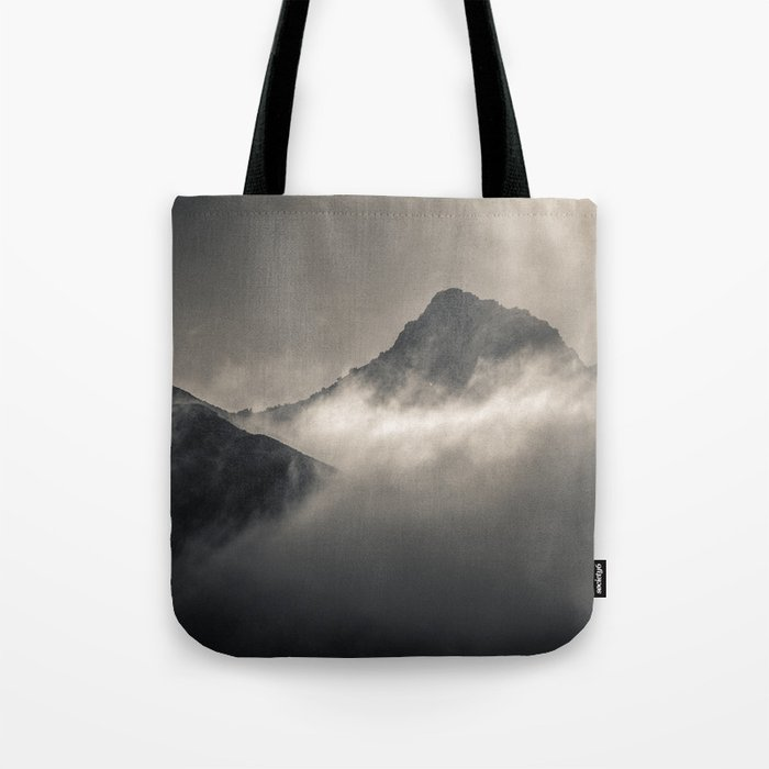 """Into the fog"". Foggy mountains Tote Bag"