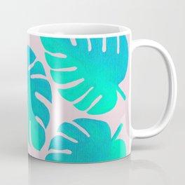 Monstera Leaves on Pink Coffee Mug