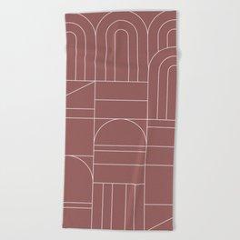 Deco Geometric 04 Dark Pink Beach Towel