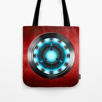 iron man Tote Bags featuring Iron Man Iron Man by ThreeBoys