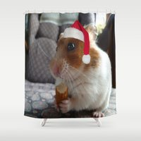 hamster Shower Curtains featuring Christmas Hamster by VHS Photography
