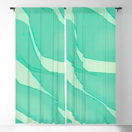 Abstract flowing ribbons in mint green Blackout Curtain