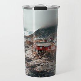 Foggy Coastal Town Seascape Travel Mug