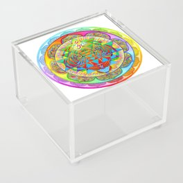 Inner Strength Psychedelic Tiger Sri Yantra Mandala Acrylic Box
