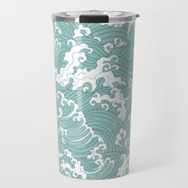 Traditional Hand Drawn Japanese Wave Ink Travel Mug