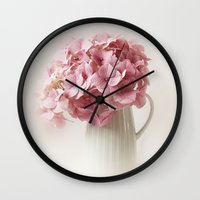 hydrangea Wall Clocks featuring Hydrangea by Ellen van Deelen