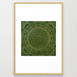 Mandala Royal - Green and Gold Framed Art Print