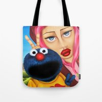 cookie monster Tote Bags featuring Cookie Monster by shue cane