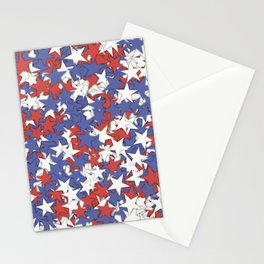 Red blue white stars Stationery Cards