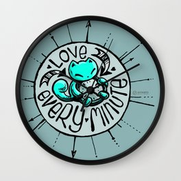Scribbles: Love every minute (blue) Wall Clock