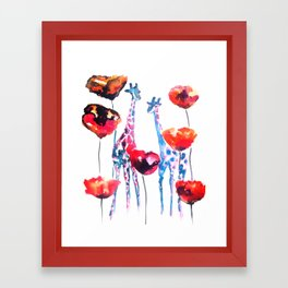 Giraffes and Poppies Framed Art Print