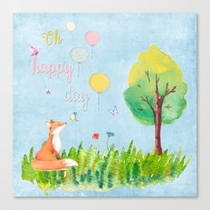 Fox- oh happy day on blue backround- Watercolor illustration Canvas Print