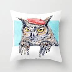 Serious Horned Owl in Red Beret  Throw Pillow