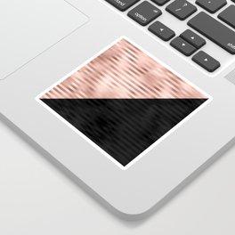 Modern Chic Pink Rose Gold Black Triangle Cut Sticker