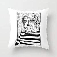 pablo picasso Throw Pillows featuring Pablo Picasso by Benson Koo