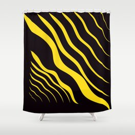 Abstract Graphic Black and Yellow Shower Curtain