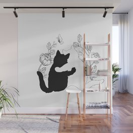 Black and white cats hugging floral decor Wall Mural