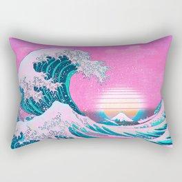 Vaporwave Aesthetic Great Wave Off Kanagawa Sunset Rectangular Pillow