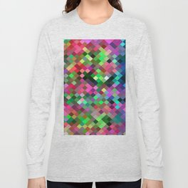 geometric square pixel pattern abstract in pink blue green Long Sleeve T-shirt
