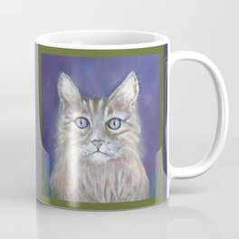 CUTE YOUNG TABBY CAT GREY BEIGE CHALK PASTEL DRAWING Coffee Mug